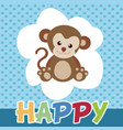 the monkeys happy and cute smile vector image vector image