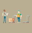 warehouse worker accepts delivery from courier vector image