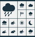 weather icons set collection of flag snowy moon vector image vector image