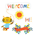 Welcome card elemenent for the baby - cute animal vector image vector image