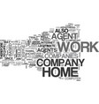 work at home agents text word cloud concept vector image vector image