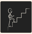 business success climbing stairs in chalk icon vector image