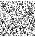 hand drawn black leaves on white seamless pattern vector image