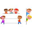 kids holding blank label vector image