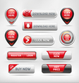 Red Glossy Web Elements Button Set vector image