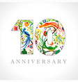 10 anniversary ethnical logo vector image vector image