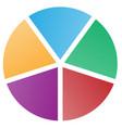 5 piece pie chart vector image vector image