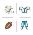 american football equipment color icons set vector image