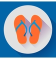 Beach sandals or slippers icon with long shadow vector image
