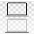 black and white laptops with transparent screen vector image vector image