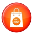 Black Friday shopping bag icon flat style vector image vector image