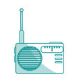 blue shading silhouette of portable radio vector image vector image
