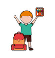 boy with backpack and color pencils back to school vector image