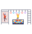 boys play in playroom with sport equipment vector image
