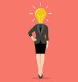Business woman with a light bulb instead of head vector image vector image