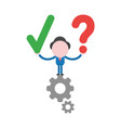 businessman character standing on gears and vector image