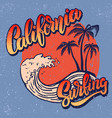 california surf rider poster template with vector image vector image