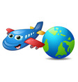 cartoon blue airplane character vector image