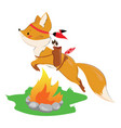 cartoon fox with an indian headdress made of vector image vector image