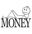 cartoon happy man lying on big money letters vector image