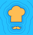 chef hat and moustache sign sand color vector image vector image