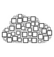 cloud mosaic of contour square icons vector image vector image