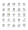 colored line icons of business and finance vector image vector image
