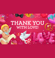 cupid with love hearts gifts rings and balloons vector image