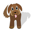 cute brown dog crossbreed waiting with torn tongue vector image