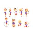 cute happy boys doing sports set activity kids vector image
