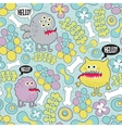 Cute monsters microbes seamless texture vector image
