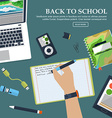 Desk schoolboy with exercise books and stationery vector image vector image