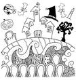 Doodle art Halloween castle vector image vector image
