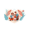 family protection support with children vector image