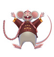 fat mouse rat is rest spreading paws 2020 on vector image vector image
