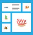 flat icon sea set of seaweed algae seafood and vector image vector image