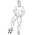football player line art vector image vector image