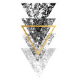 grunge black shapes of triangles with gold vector image