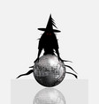 halloween disco ball and spooky witch vector image vector image