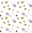 hand-drawn seamless doodle pattern with hearts vector image vector image