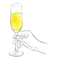 hand with glass of champagne vector image vector image