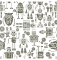 Hipster robot seamless pattern black and white vector image