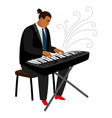Jazz pianist plays on synthesizer cartoon