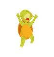 joyful turtle in jumping action green reptile vector image vector image