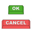 keyboard buttons ok and cancel red vector image vector image