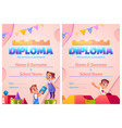 kids diploma cartoon certificate with children vector image