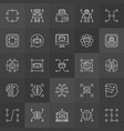machine learning concept icons in thin line vector image vector image