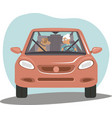 old senior woman driving car her dog sitting near vector image vector image