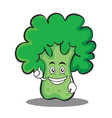 optimistic broccoli chracter cartoon style vector image vector image