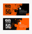 Orange and black Sale coupon or gift voucher with vector image